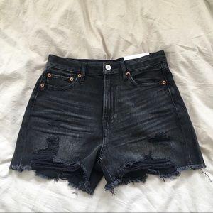 faded black denim shorts size 4 never worn